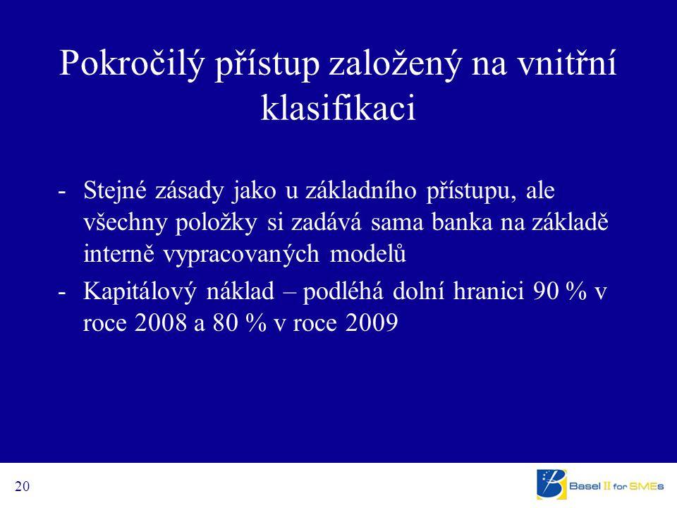 20 Pokročilý přístup založený na vnitřní klasifikaci -Stejné zásady jako u základního přístupu, ale všechny položky si zadává sama banka na základě interně vypracovaných modelů -Kapitálový náklad – podléhá dolní hranici 90 % v roce 2008 a 80 % v roce 2009