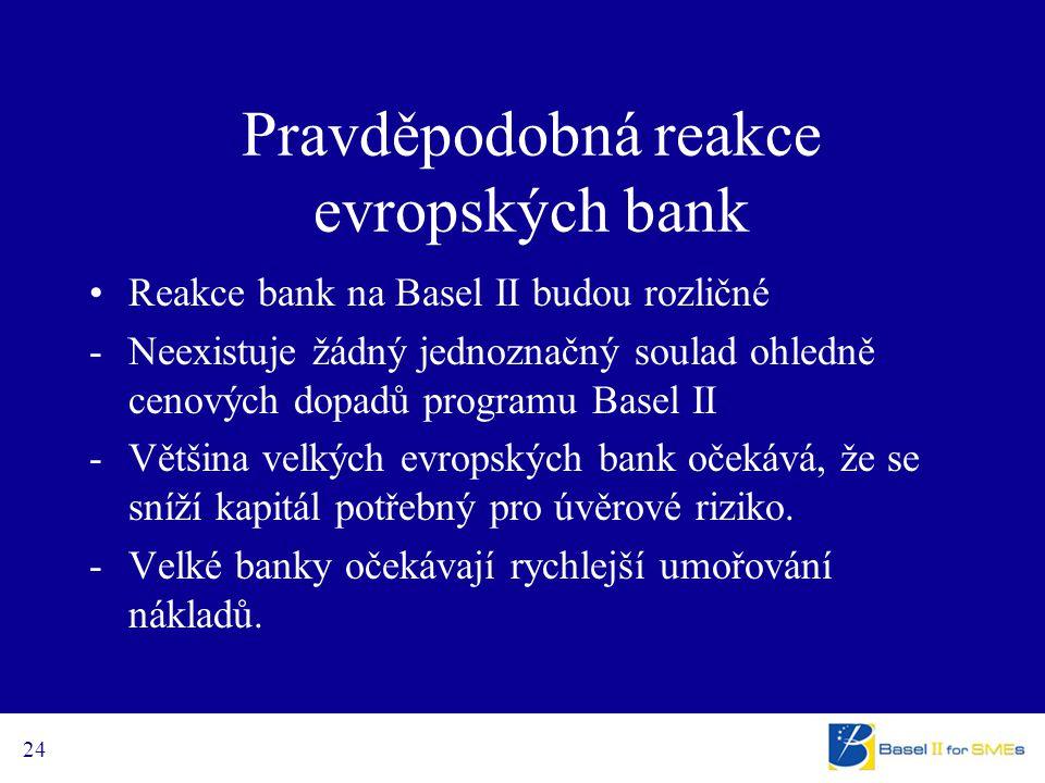 24 Pravděpodobná reakce evropských bank Reakce bank na Basel II budou rozličné -Neexistuje žádný jednoznačný soulad ohledně cenových dopadů programu B