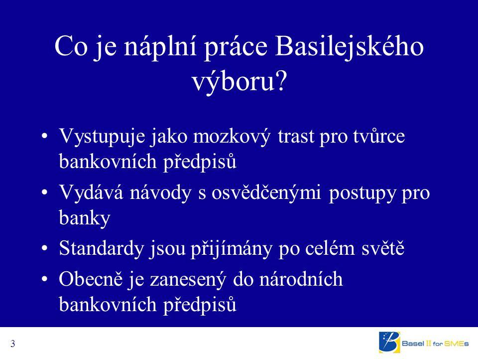 3 Co je náplní práce Basilejského výboru? Vystupuje jako mozkový trast pro tvůrce bankovních předpisů Vydává návody s osvědčenými postupy pro banky St