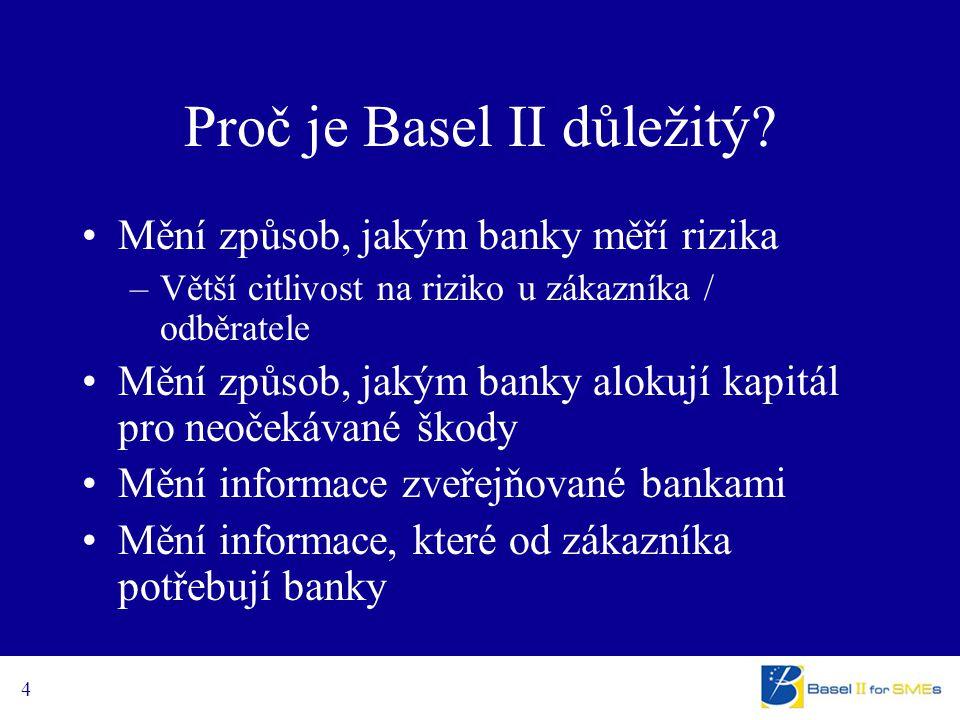 4 Proč je Basel II důležitý? Mění způsob, jakým banky měří rizika –Větší citlivost na riziko u zákazníka / odběratele Mění způsob, jakým banky alokují