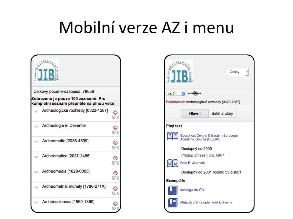 Mobilní verze AZ i menu