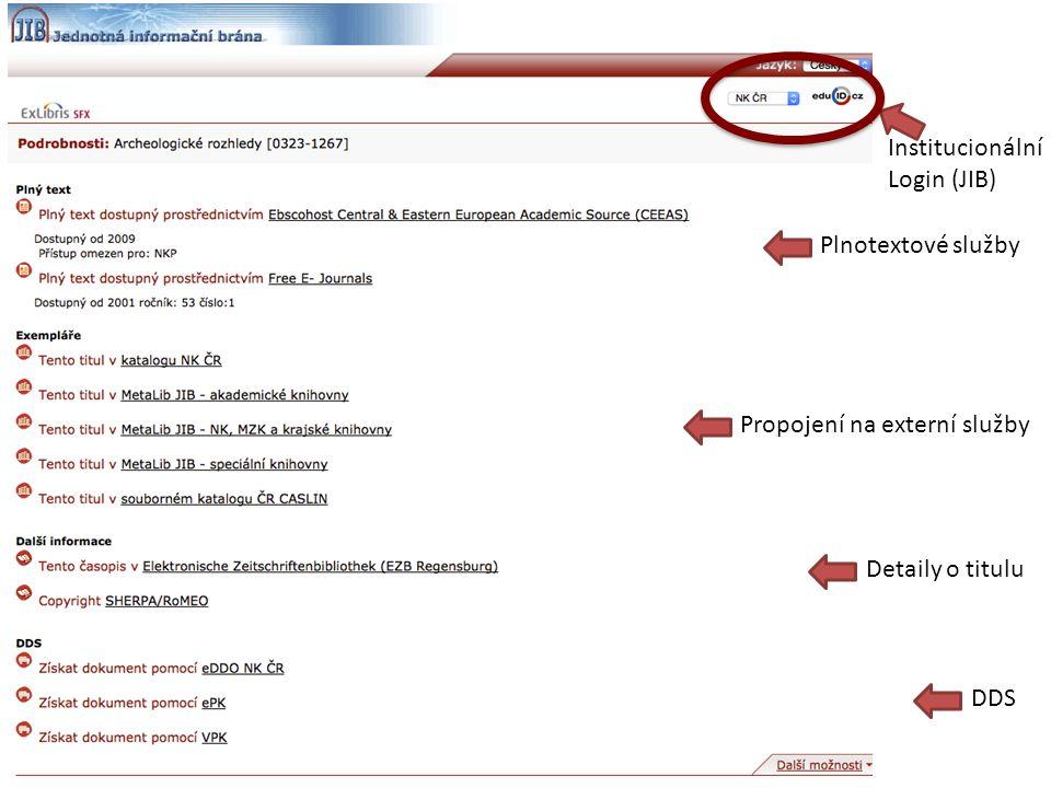 Plnotextové služby Propojení na externí služby Detaily o titulu DDS Institucionální Login (JIB)