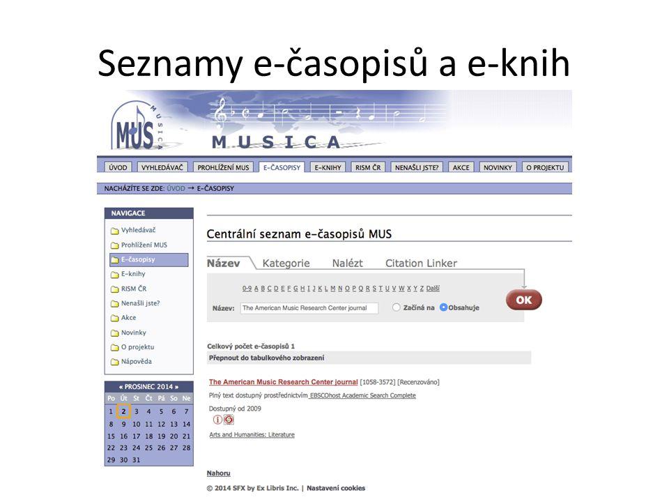 Seznamy e-časopisů a e-knih