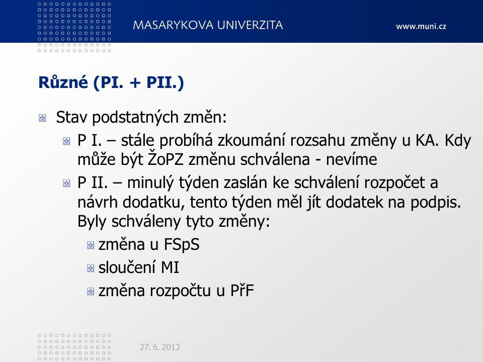 Různé (PI. + PII.) Stav podstatných změn: P I. – stále probíhá zkoumání rozsahu změny u KA.