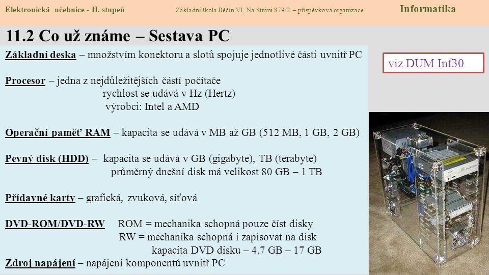 11.2 Co už známe – Sestava PC Elektronická učebnice - II.