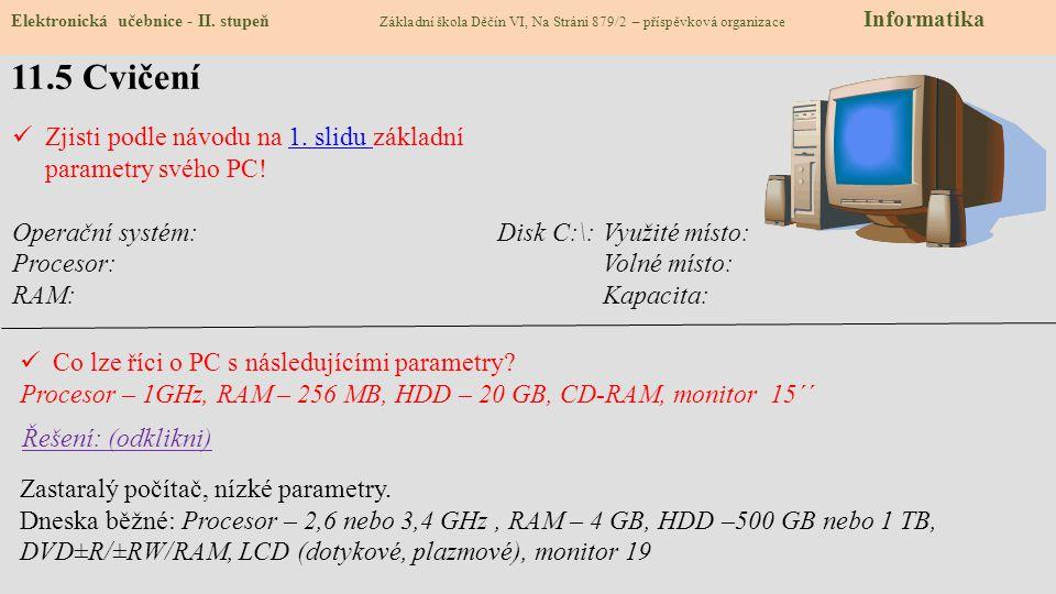 11.5 Cvičení Elektronická učebnice - II.