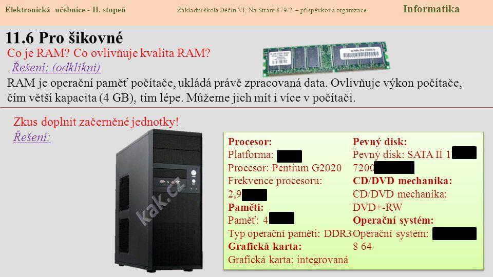 11.7 CLIL – Parameters PC Elektronická učebnice - II.