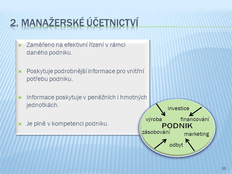  Zaměřeno na efektivní řízení v rámci daného podniku.  Poskytuje podrobnější informace pro vnitřní potřebu podniku.  Informace poskytuje v peněžníc