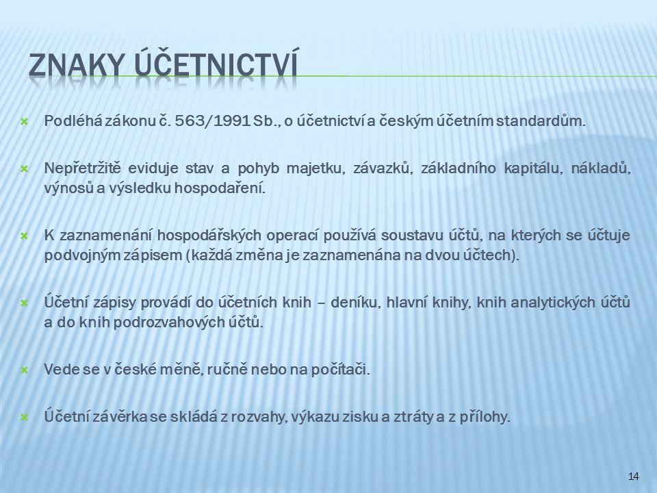  Podléhá zákonu č. 563/1991 Sb., o účetnictví a českým účetním standardům.  Nepřetržitě eviduje stav a pohyb majetku, závazků, základního kapitálu,