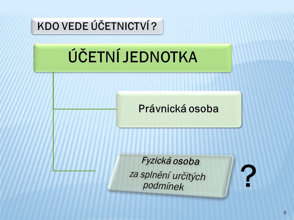 ÚČETNÍ JEDNOTKA Právnická osoba KDO VEDE ÚČETNICTVÍ? ? 6