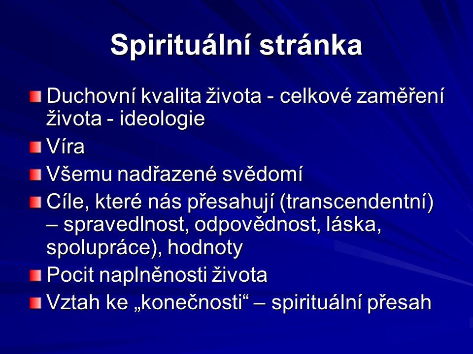 Spirituální stránka Duchovní kvalita života - celkové zaměření života - ideologie Víra Všemu nadřazené svědomí Cíle, které nás přesahují (transcendent