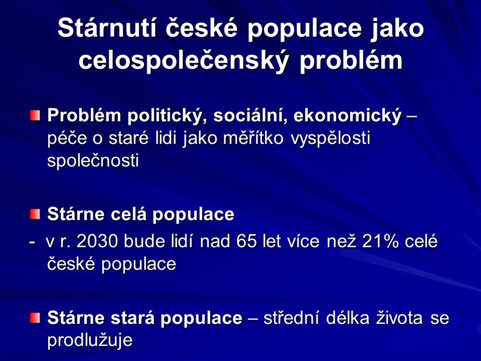 Stárnutí české populace jako celospolečenský problém Problém politický, sociální, ekonomický – péče o staré lidi jako měřítko vyspělosti společnosti S