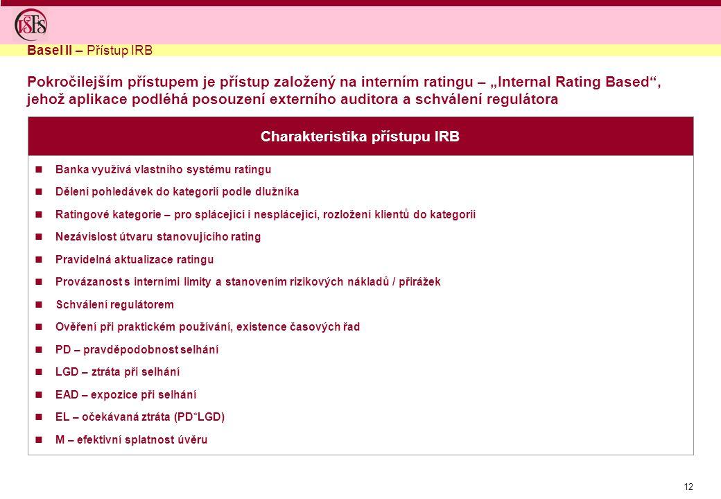 """12 Pokročilejším přístupem je přístup založený na interním ratingu – """"Internal Rating Based , jehož aplikace podléhá posouzení externího auditora a schválení regulátora Charakteristika přístupu IRB Banka využívá vlastního systému ratingu Dělení pohledávek do kategorií podle dlužníka Ratingové kategorie – pro splácející i nesplácející, rozložení klientů do kategorií Nezávislost útvaru stanovujícího rating Pravidelná aktualizace ratingu Provázanost s interními limity a stanovením rizikových nákladů / přirážek Schválení regulátorem Ověření při praktickém používání, existence časových řad PD – pravděpodobnost selhání LGD – ztráta při selhání EAD – expozice při selhání EL – očekávaná ztráta (PD*LGD) M – efektivní splatnost úvěru Basel II – Přístup IRB"""