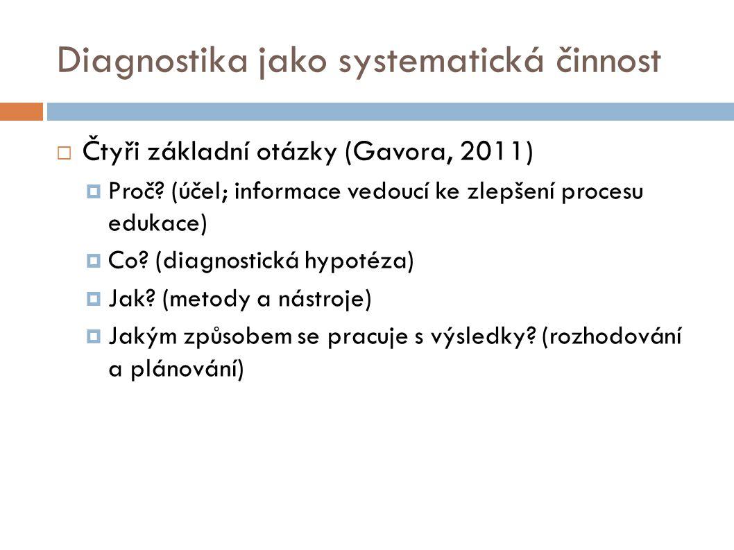 Diagnostika jako systematická činnost  Čtyři základní otázky (Gavora, 2011)  Proč? (účel; informace vedoucí ke zlepšení procesu edukace)  Co? (diag