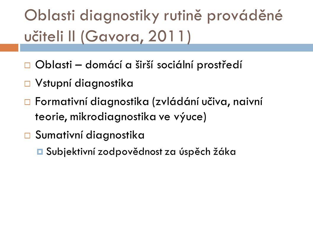 Oblasti diagnostiky rutině prováděné učiteli II (Gavora, 2011)  Oblasti – domácí a širší sociální prostředí  Vstupní diagnostika  Formativní diagno