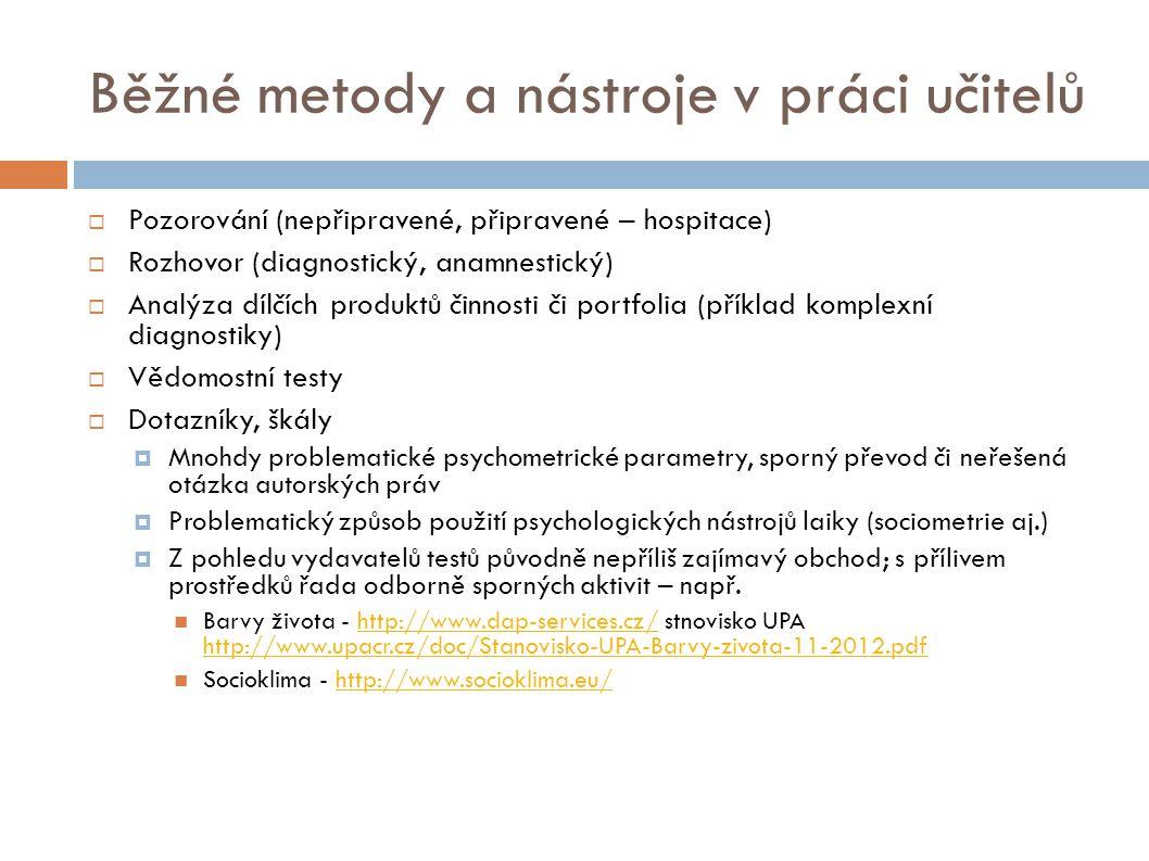 Běžné metody a nástroje v práci učitelů  Pozorování (nepřipravené, připravené – hospitace)  Rozhovor (diagnostický, anamnestický)  Analýza dílčích