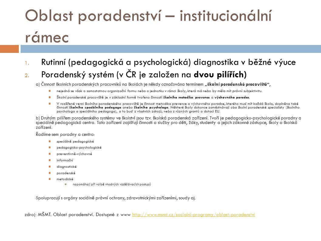 Oblast poradenství – institucionální rámec 1. Rutinní (pedagogická a psychologická) diagnostika v běžné výuce 2. Poradenský systém (v ČR je založen na