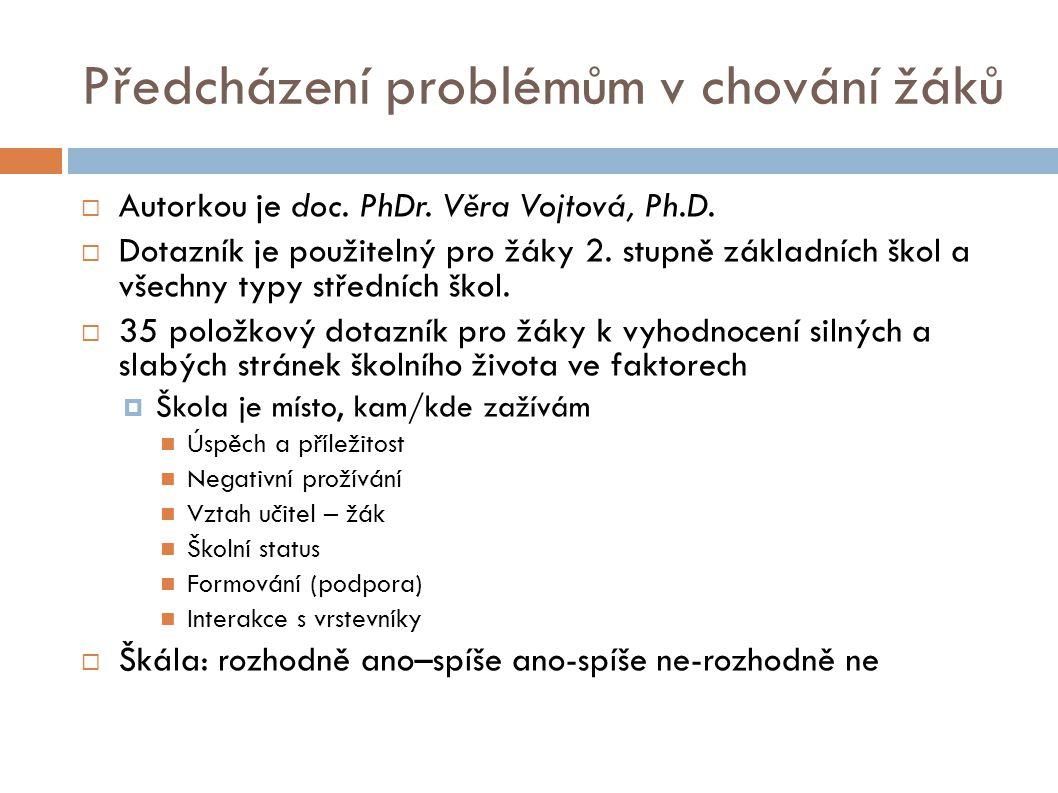 Předcházení problémům v chování žáků  Autorkou je doc. PhDr. Věra Vojtová, Ph.D.  Dotazník je použitelný pro žáky 2. stupně základních škol a všechn