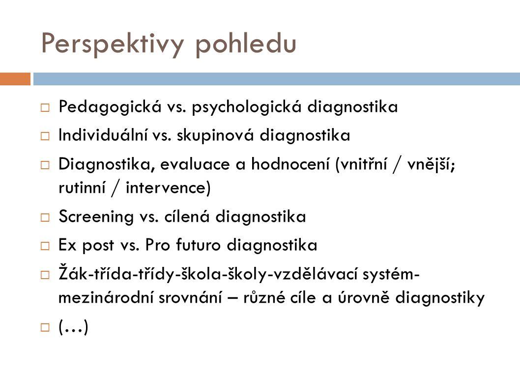 Perspektivy pohledu  Pedagogická vs. psychologická diagnostika  Individuální vs. skupinová diagnostika  Diagnostika, evaluace a hodnocení (vnitřní