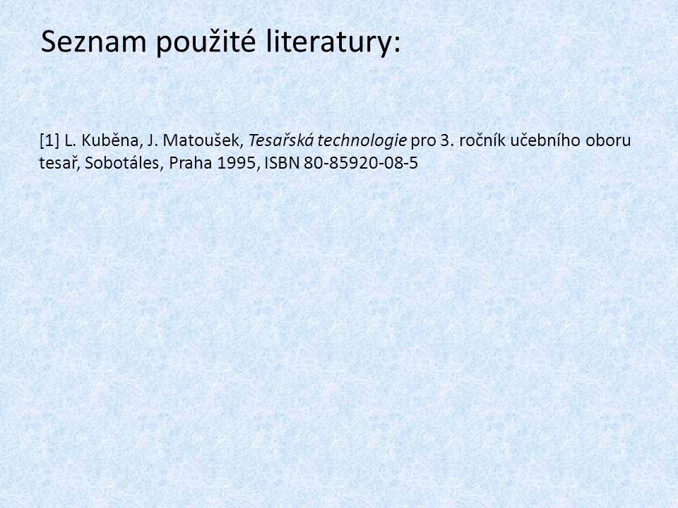 Seznam použité literatury: [1] L. Kuběna, J. Matoušek, Tesařská technologie pro 3. ročník učebního oboru tesař, Sobotáles, Praha 1995, ISBN 80-85920-0