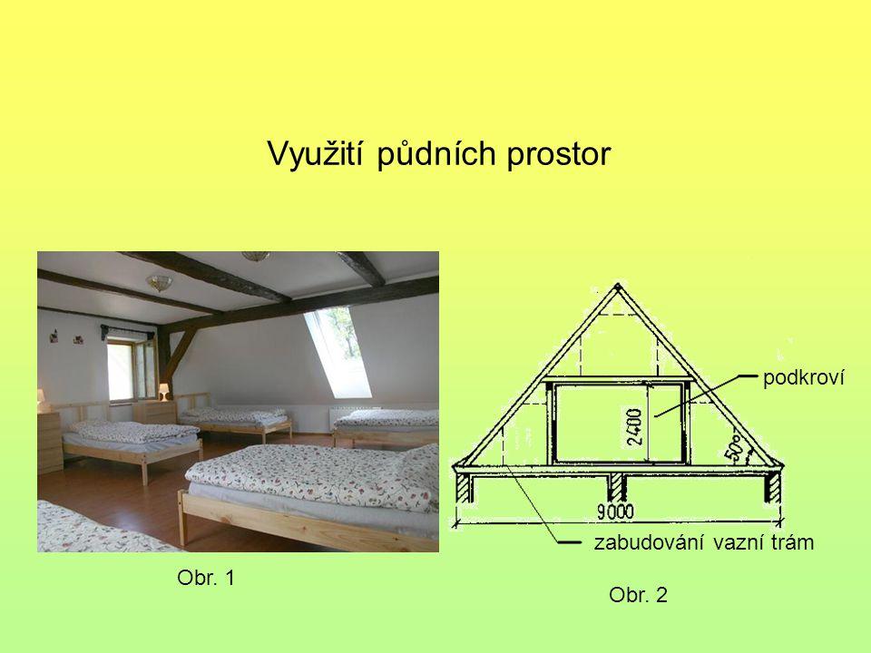 podkroví zabudování vazní trám Obr. 1 Obr. 2 Využití půdních prostor