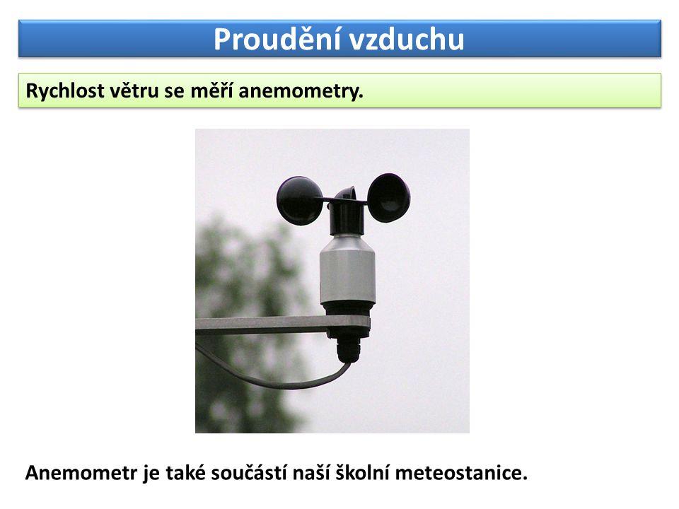 Proudění vzduchu Rychlost větru se měří anemometry.