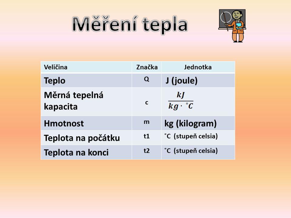 Veličina ZnačkaJednotka Teplo Q J (joule) Měrná tepelná kapacita c Hmotnost m kg (kilogram) Teplota na počátku t1˚C (stupeň celsia) Teplota na konci t2˚C (stupeň celsia)
