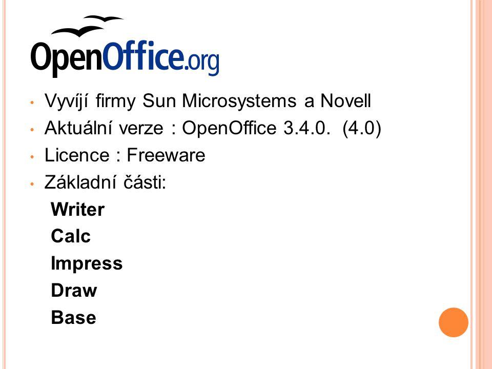 Vyvíjí firmy Sun Microsystems a Novell Aktuální verze : OpenOffice 3.4.0.