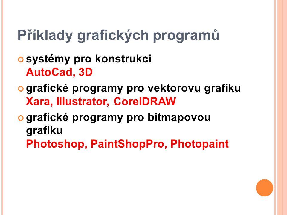 Příklady grafických programů systémy pro konstrukci AutoCad, 3D grafické programy pro vektorovu grafiku Xara, Illustrator, CorelDRAW grafické programy pro bitmapovou grafiku Photoshop, PaintShopPro, Photopaint