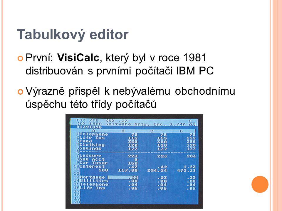 Tabulkový editor První: VisiCalc, který byl v roce 1981 distribuován s prvními počítači IBM PC Výrazně přispěl k nebývalému obchodnímu úspěchu této třídy počítačů