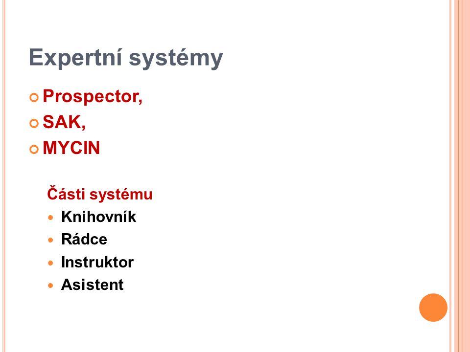 Expertní systémy Prospector, SAK, MYCIN Části systému Knihovník Rádce Instruktor Asistent