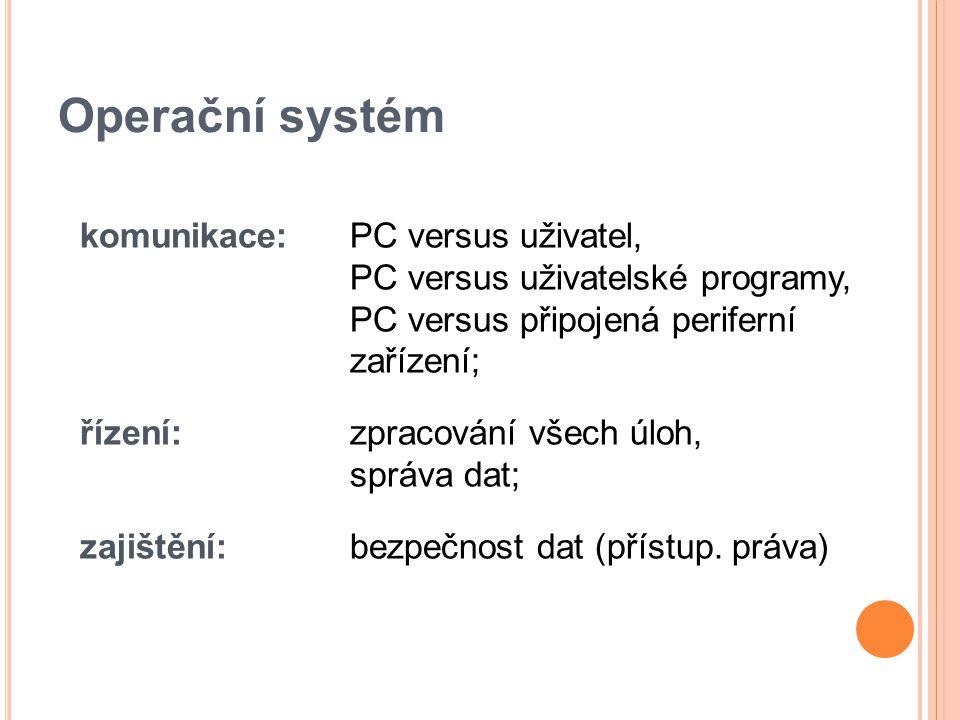 Operační systém Tři základní funkce: Ovládání počítače – umožňuje uživateli spouštět programy, předávat jim vstupy a získávat jejich výstupy s výsledky Abstrakce hardware – vytváří rozhraní pro programy, které abstrahuje ovládání hardware a dalších funkcí do snadno použitelných funkcí (API) Správa prostředků – přiděluje a odebírá procesům systémové prostředky počítače
