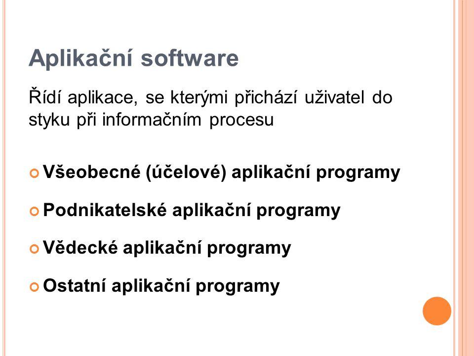 Aplikační software Řídí aplikace, se kterými přichází uživatel do styku při informačním procesu Všeobecné (účelové) aplikační programy Podnikatelské aplikační programy Vědecké aplikační programy Ostatní aplikační programy