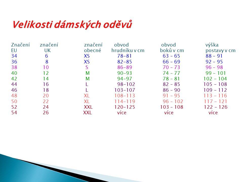 Velikosti dámských oděvů Značení značeníznačení obvod obvod výška EU UKobecné hrudníku v cm boků v cmpostavy v cm 34 6XS 78-81 63 – 6588 – 91 36 8XS 8