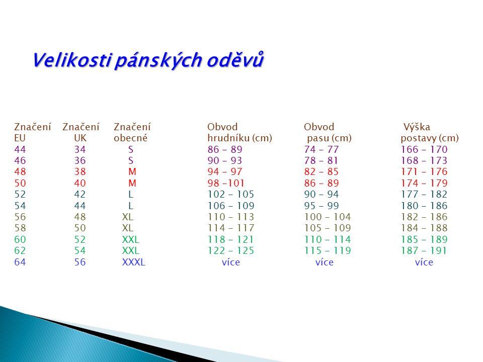Značení Značení Značení Obvod Obvod Výška EU UK obecné hrudníku (cm) pasu (cm)postavy (cm) 44 34 S 86 - 89 74 - 77 166 - 170 46 36 S 90 - 93 78 - 81 1