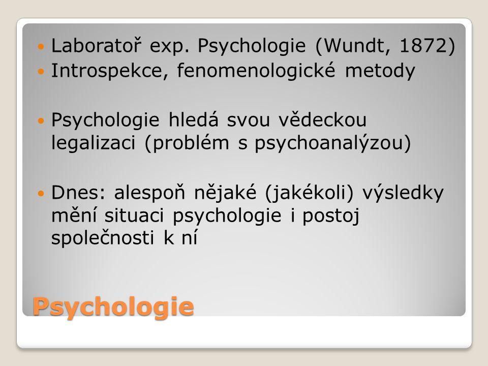 Psychologie Laboratoř exp. Psychologie (Wundt, 1872) Introspekce, fenomenologické metody Psychologie hledá svou vědeckou legalizaci (problém s psychoa
