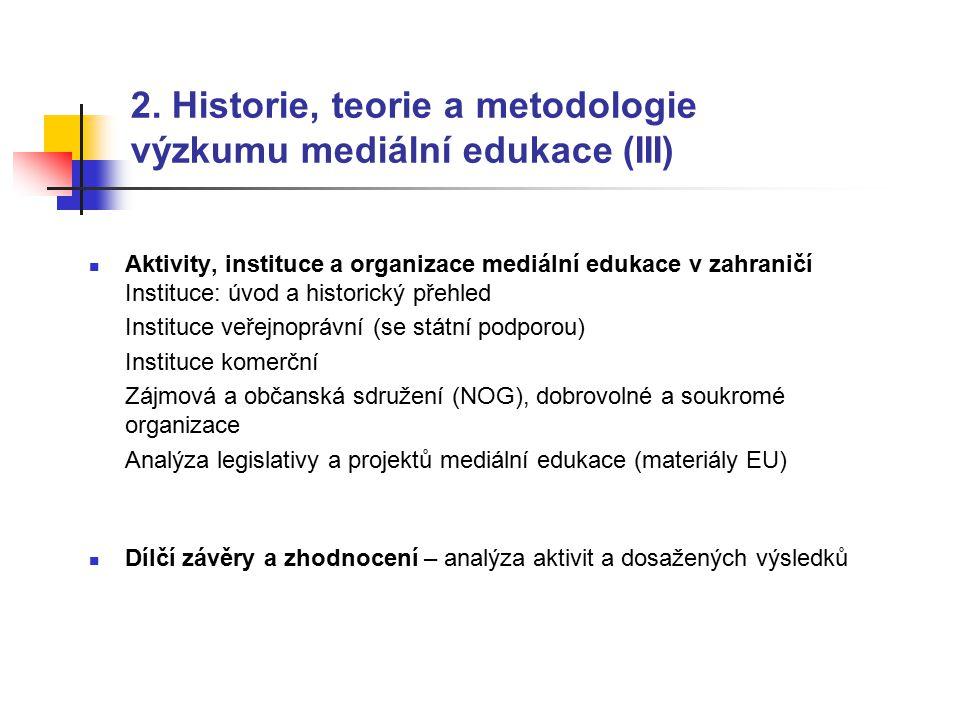 2. Historie, teorie a metodologie výzkumu mediální edukace (III) Aktivity, instituce a organizace mediální edukace v zahraničí Instituce: úvod a histo