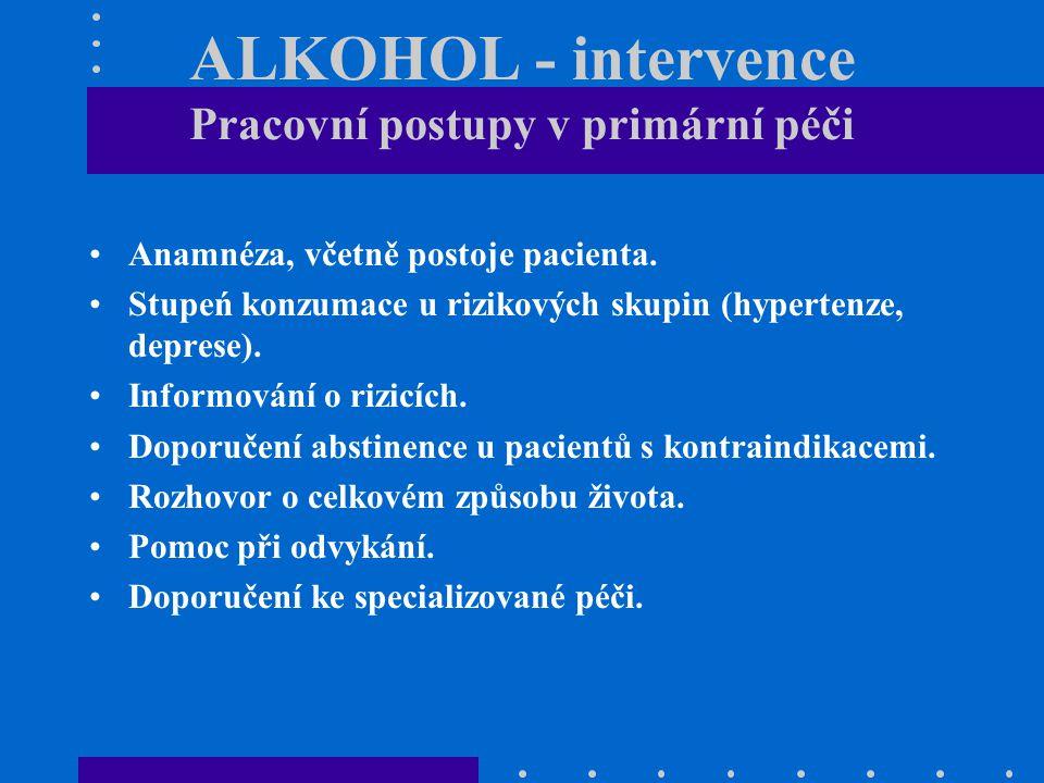 ALKOHOL - intervence Pracovní postupy v primární péči Anamnéza, včetně postoje pacienta. Stupeń konzumace u rizikových skupin (hypertenze, deprese). I