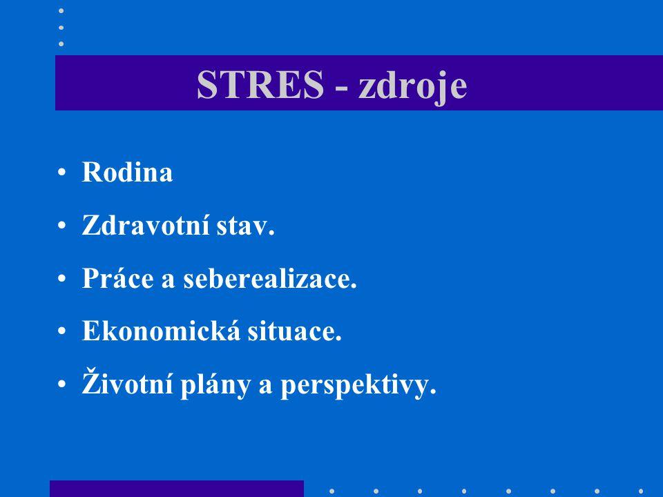 STRES - zdroje Rodina Zdravotní stav. Práce a seberealizace. Ekonomická situace. Životní plány a perspektivy.