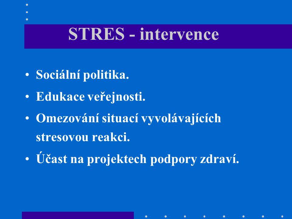 STRES - intervence Sociální politika. Edukace veřejnosti. Omezování situací vyvolávajících stresovou reakci. Účast na projektech podpory zdraví.