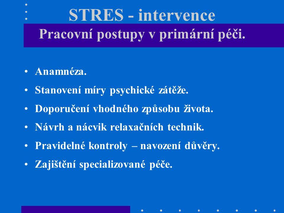STRES - intervence Pracovní postupy v primární péči. Anamnéza. Stanovení míry psychické zátěže. Doporučení vhodného způsobu života. Návrh a nácvik rel