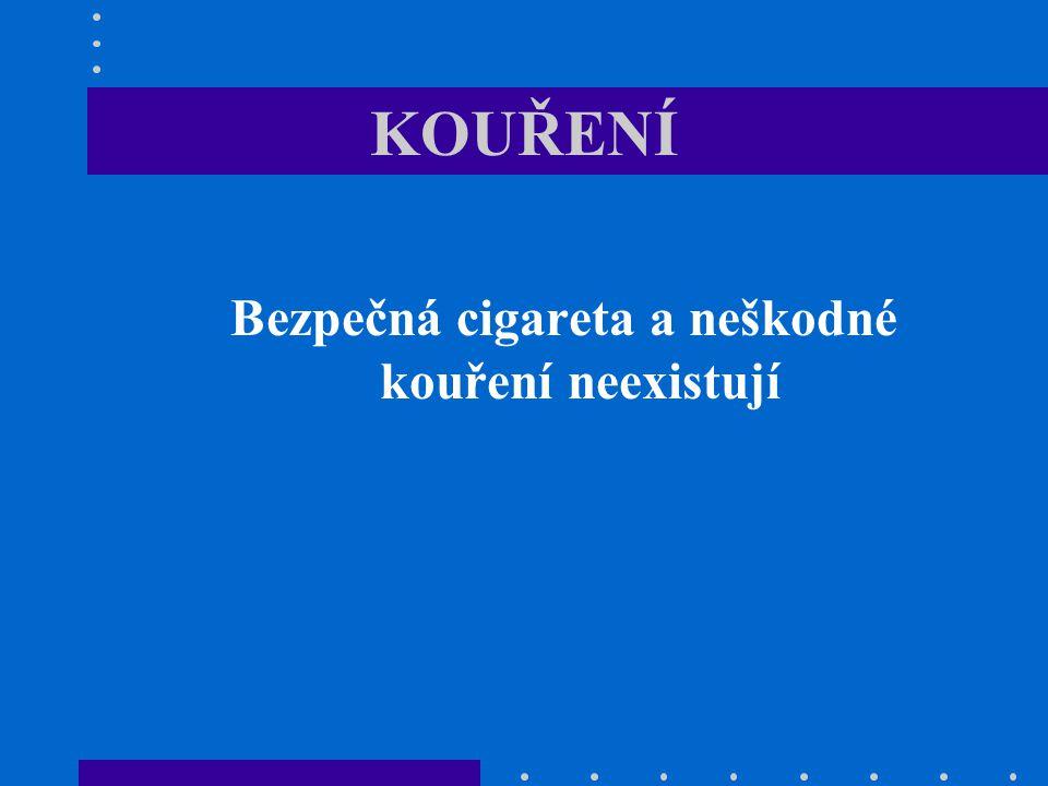 KOUŘENÍ Bezpečná cigareta a neškodné kouření neexistují