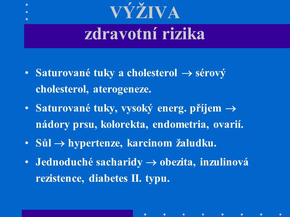 VÝŽIVA zdravotní rizika Saturované tuky a cholesterol  sérový cholesterol, aterogeneze. Saturované tuky, vysoký energ. příjem  nádory prsu, kolorekt