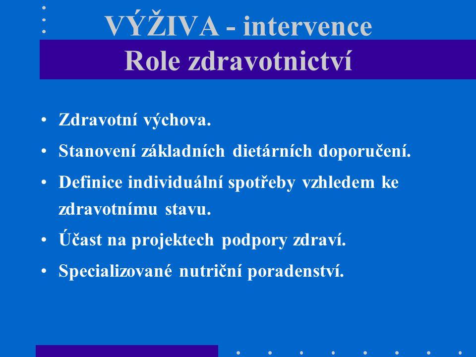 VÝŽIVA - intervence Role zdravotnictví Zdravotní výchova. Stanovení základních dietárních doporučení. Definice individuální spotřeby vzhledem ke zdrav