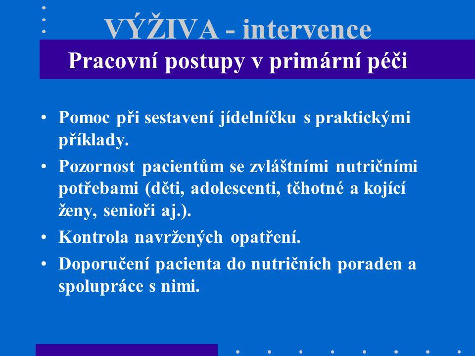 VÝŽIVA - intervence Pracovní postupy v primární péči Pomoc při sestavení jídelníčku s praktickými příklady. Pozornost pacientům se zvláštními nutriční