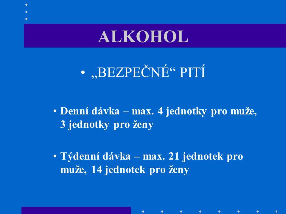 "ALKOHOL ""BEZPEČNÉ"" PITÍ Denní dávka – max. 4 jednotky pro muže, 3 jednotky pro ženy Týdenní dávka – max. 21 jednotek pro muže, 14 jednotek pro ženy"