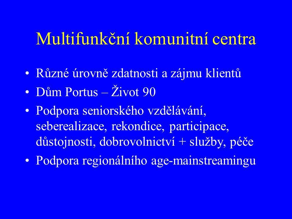 Multifunkční komunitní centra Různé úrovně zdatnosti a zájmu klientů Dům Portus – Život 90 Podpora seniorského vzdělávání, seberealizace, rekondice, participace, důstojnosti, dobrovolnictví + služby, péče Podpora regionálního age-mainstreamingu