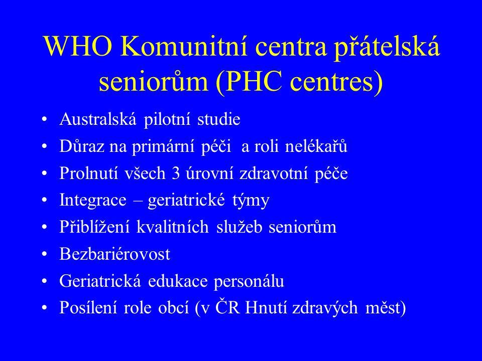Komunitní centra přátelská seniorům (PHC centres) Poradenství – pacienti, rodiny, pečující Koordinace - Komplexnost – desektorializace péče Komunitní kontinuita Zdravotně sociální pomezí Podpora pečujících rodin Rozvoj long-term care – HC, PS Pružně dostupné intervence ad hoc – tísňová p.