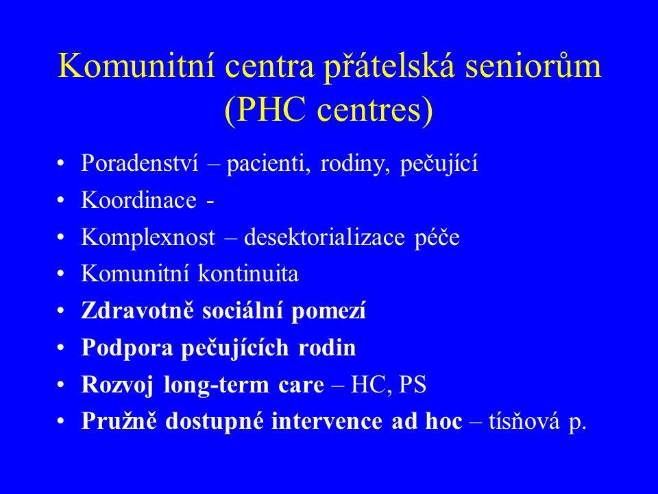 Komunitní centra přátelská seniorům (PHC centres) Poradenství – pacienti, rodiny, pečující Koordinace - Komplexnost – desektorializace péče Komunitní
