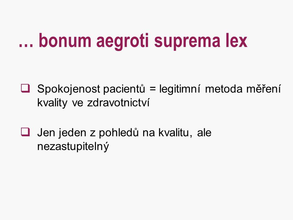… bonum aegroti suprema lex  Spokojenost pacientů = legitimní metoda měření kvality ve zdravotnictví  Jen jeden z pohledů na kvalitu, ale nezastupit